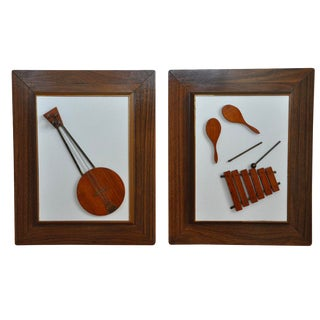 Mid-Century Carved Wood Instrument Art - A Pair