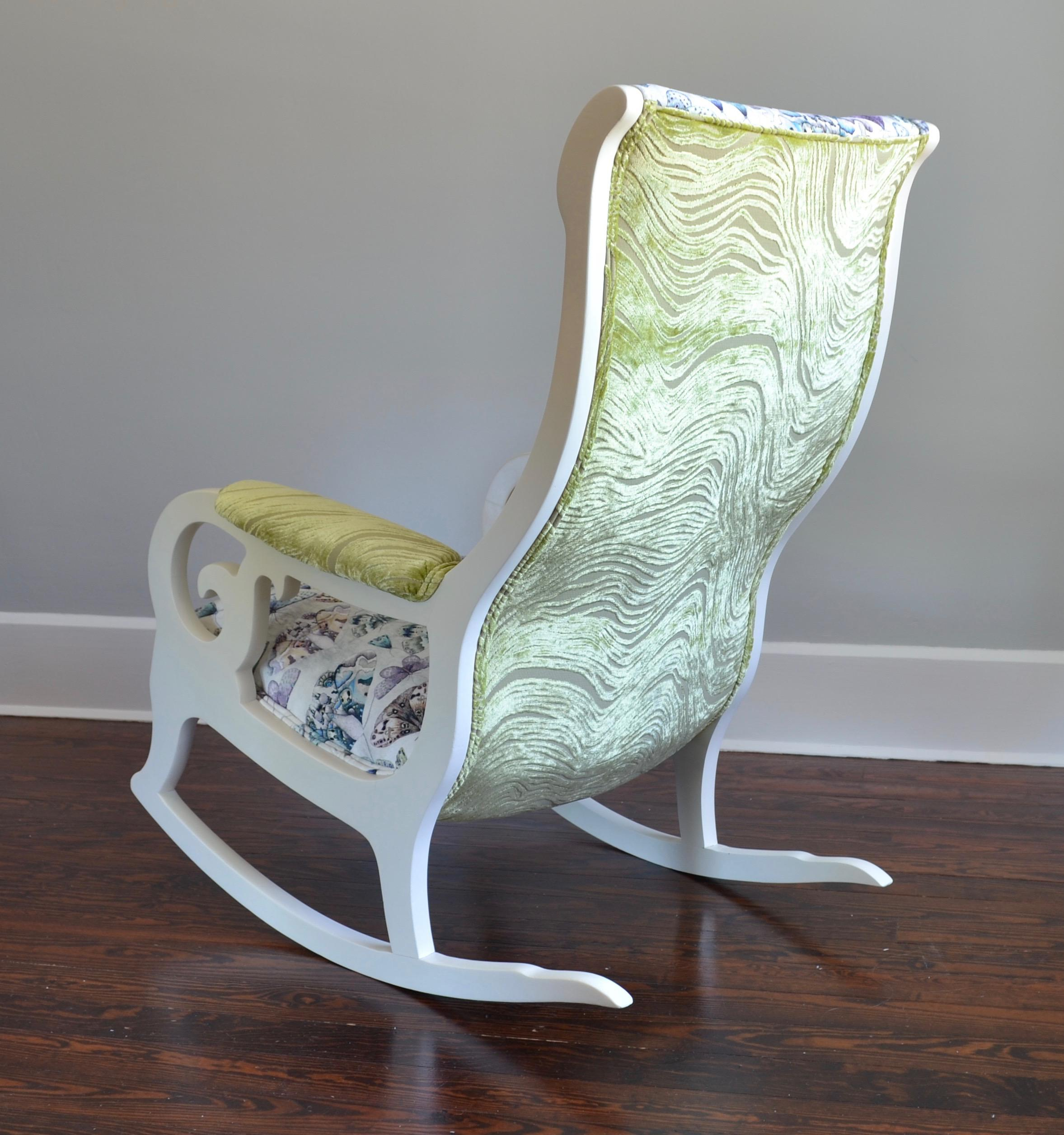 Upholstered Wood Rocking Chair In Antique White With Butterfly Velvet    Image 4 Of 6
