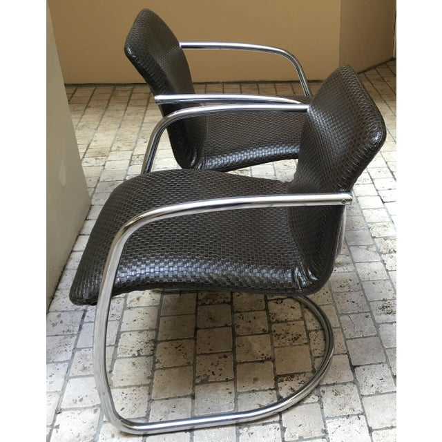 Mid Century Chrome Basket Weave Chair - Pair - Image 8 of 8