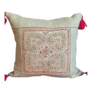 """Vintage Applique Textile Lao Pillow with Linen - 15"""" x 15"""""""