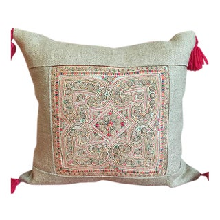 "Vintage Applique Textile Lao Pillow with Linen - 15"" x 15"""
