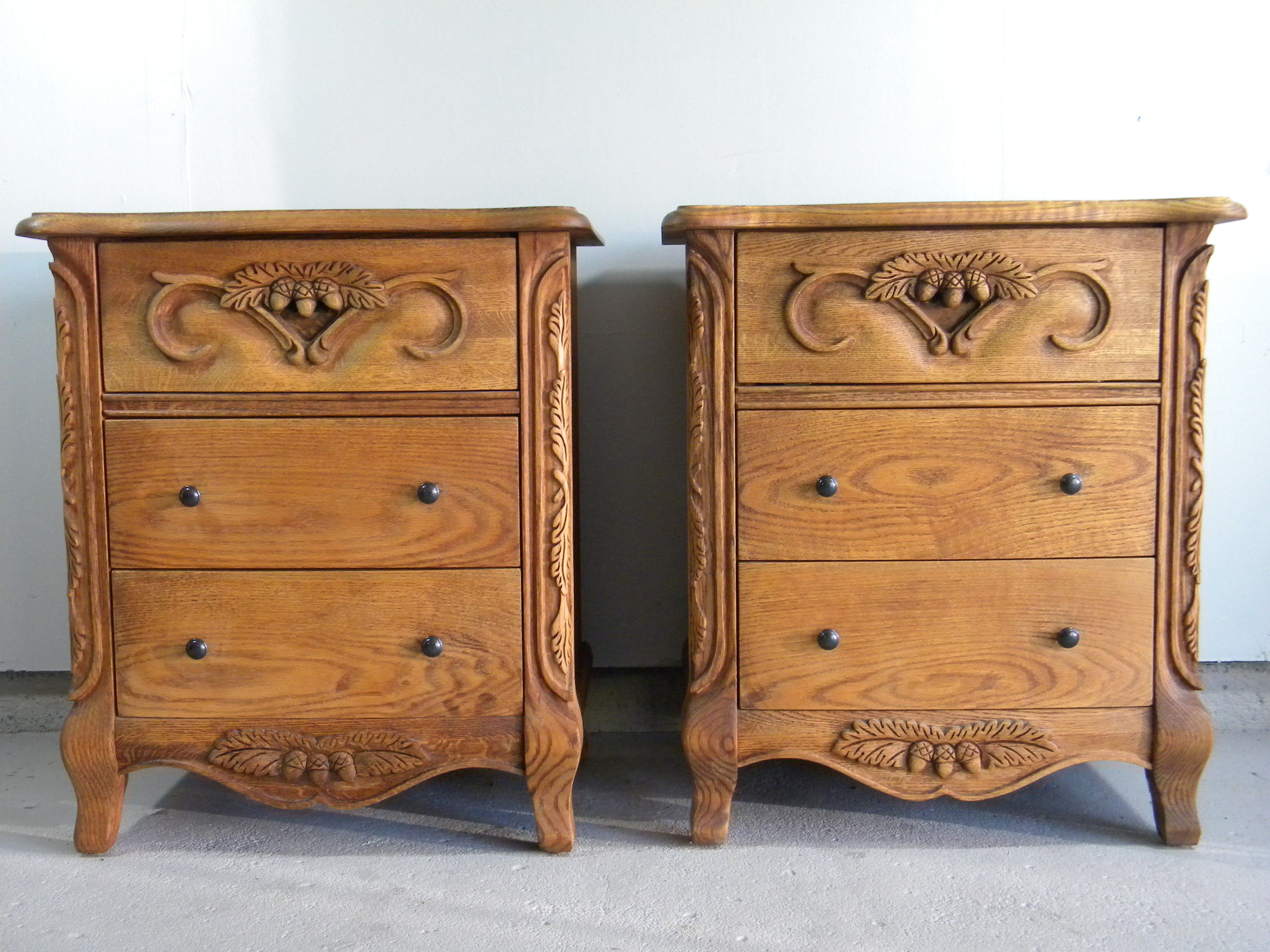 Carved Oak Nightstands A Pair Chairish