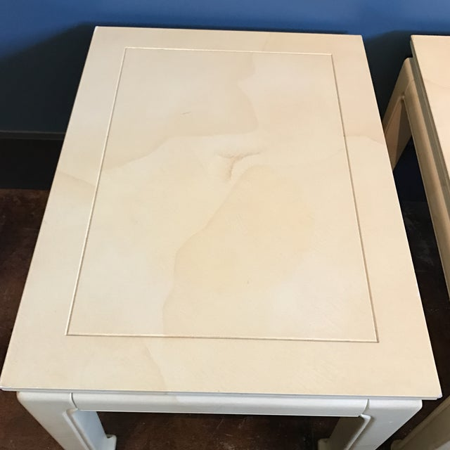 Henredon Goatskin Lacquered End Tables - a Pair - Image 8 of 9