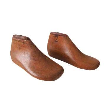 Image of Antique Wood Children's Cobbler Shoe Mold Form - Set of 2