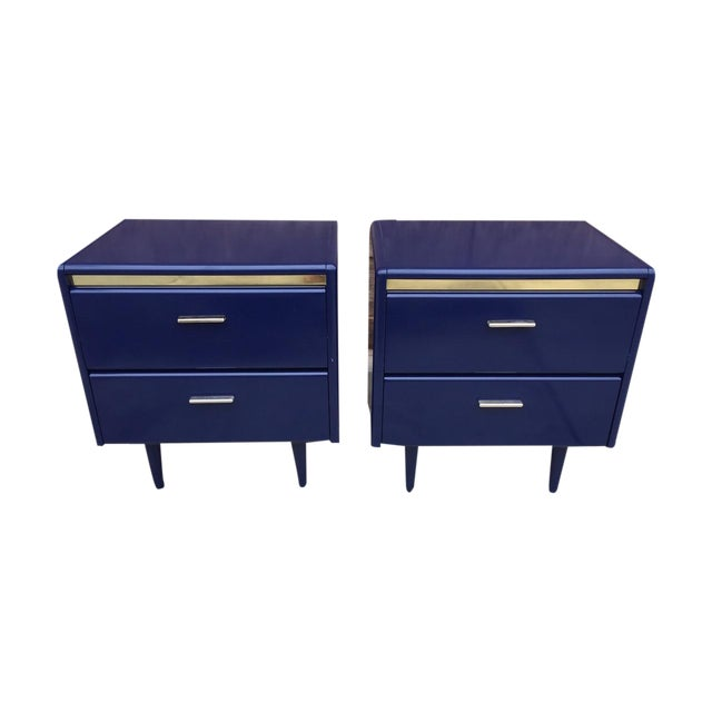 1980s Blue Brass Nightstands - A Pair - Image 1 of 3