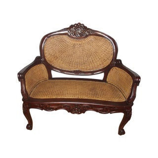 Antique Louis XV Style Caned Canape Settee