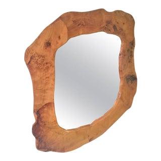 Brutalist Organic Modern Sculpted Burlwood Mirror