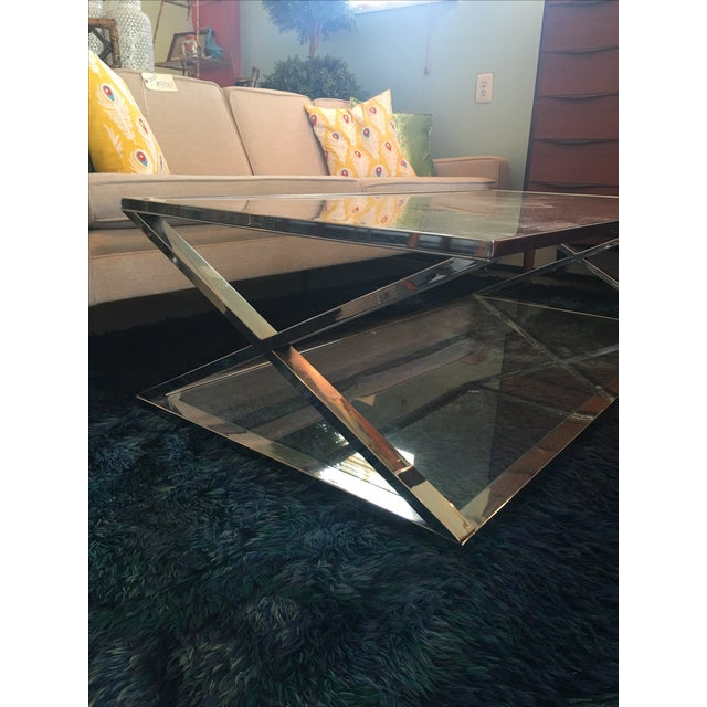 Vintage Milo Baughman Style Chrome Coffee Table - Image 5 of 5