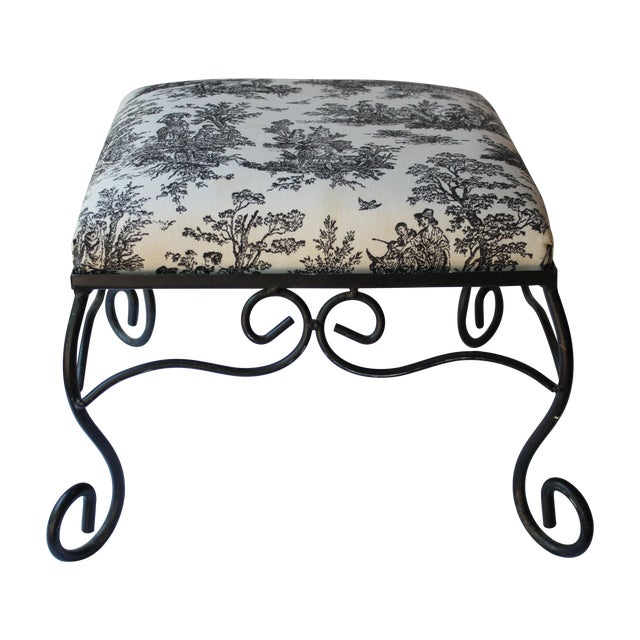 Image of Iron Black & White Toile Stool