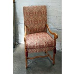 Image of Country French Louis XIV Style Damask Armchair