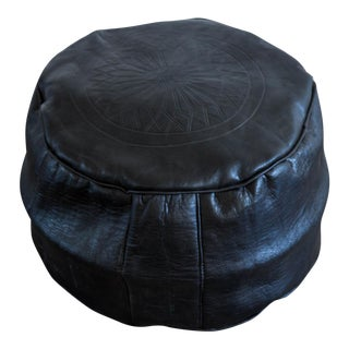 Moroccan Leather Pouf in Black