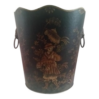 Asian Regency Lion Chinoiserie Wastebasket