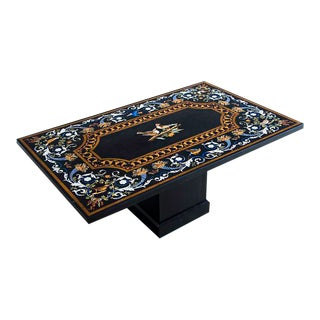 "Florentine Style ""Pietra Dura"" Vintage Indian Plaque/Coffee Table, circa 2000"