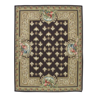 French Aubusson Design Hand Woven Brown & Gold Framed Wool Rug - 8' X 10'