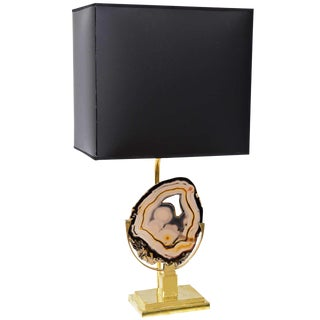 Willy Daro Style Brass Table Lamp with Agate Disc