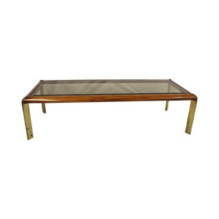 Mid Century Modern Lane Coffee Table Glass & Brass