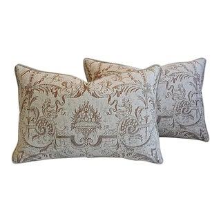 "27"" X 18"" Custom Tailored Fortuny Italian Mazzarino Feather/Down Pillows - a Pair"