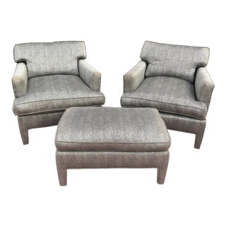 Mid-Century Upholstered Lounge Chairs With Ottoman - Set of 3