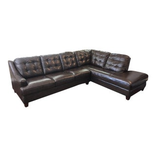 Bassett Leather Sectional With Chaise
