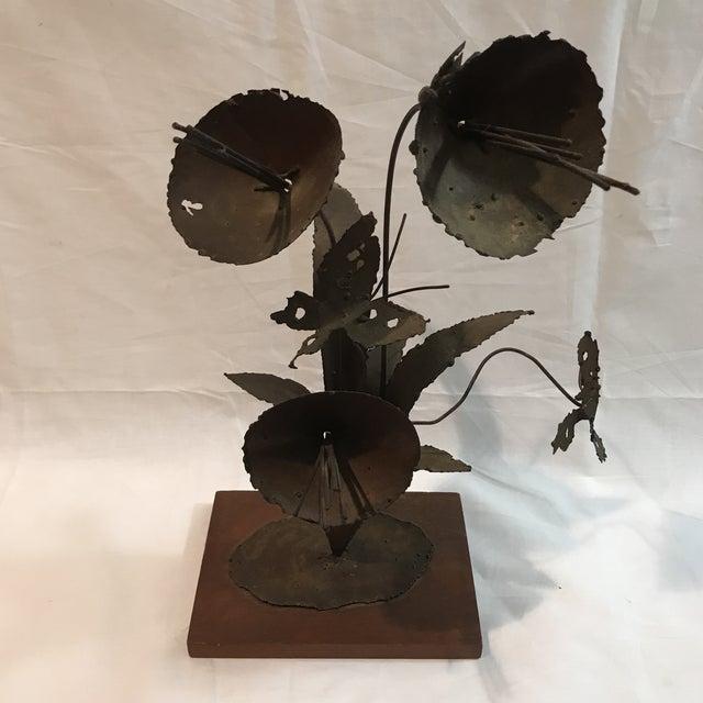 Brutalist Floral Metal Sculpture - Image 2 of 11