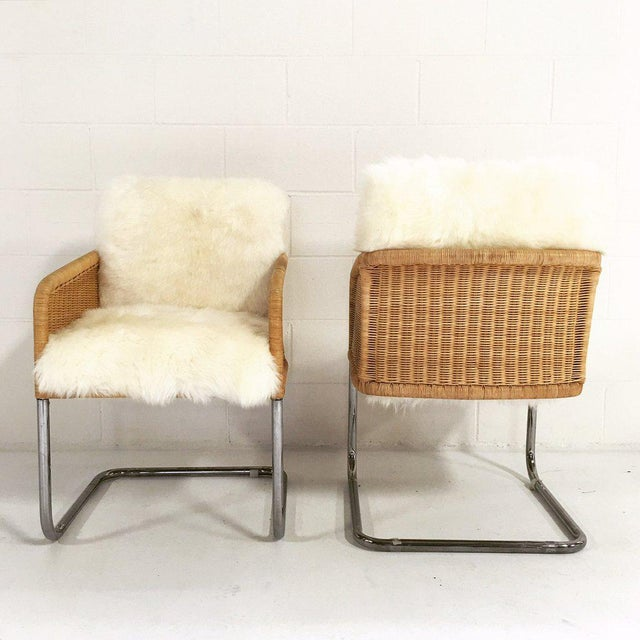 Woven Chairs with Sheepskin Cushions - A Pair - Image 6 of 8