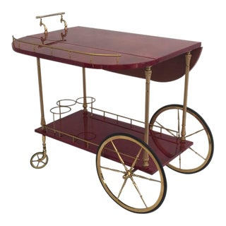 Red Parchment Aldo Tura Drop-Leaf Bar Cart