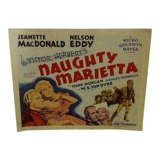 "Vintage Movie Poster ""Naughty Marietta"" Jeanette Macdonald & Frank Morgan - 1962"