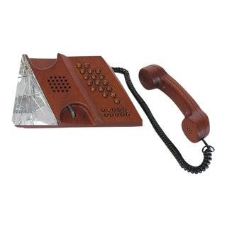 Mid-Century Swedish Mahogany Phone by Teli with Orrefors Crystal