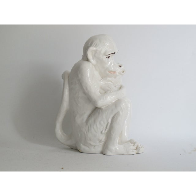 Image of Italian Ceramic Monkey with Baby