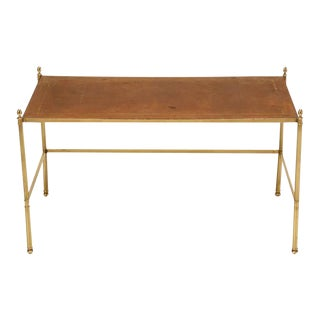 Vintage French Leather & Brass Coffee Table