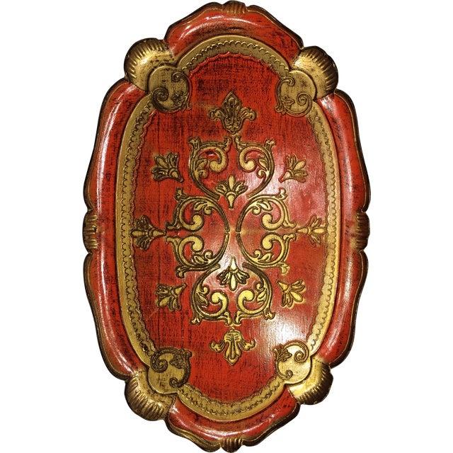 Vintage Florentine Craved Gold Leaf Orange Tray - Image 1 of 7