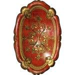 Image of Vintage Florentine Craved Gold Leaf Orange Tray