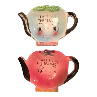 Napco Ceramic Tea Bag Holders - A Pair