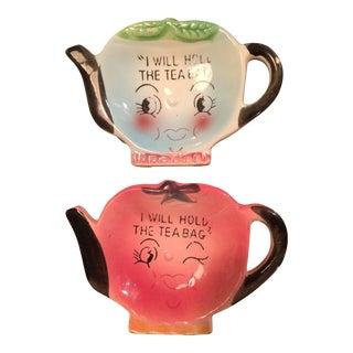 Napco Ceramic Tea Bag Holders - A Pair