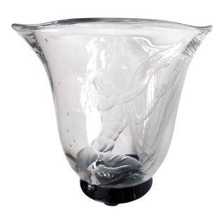 Good Quality Swedish Art Deco Etched Glass Vase by S. Gate