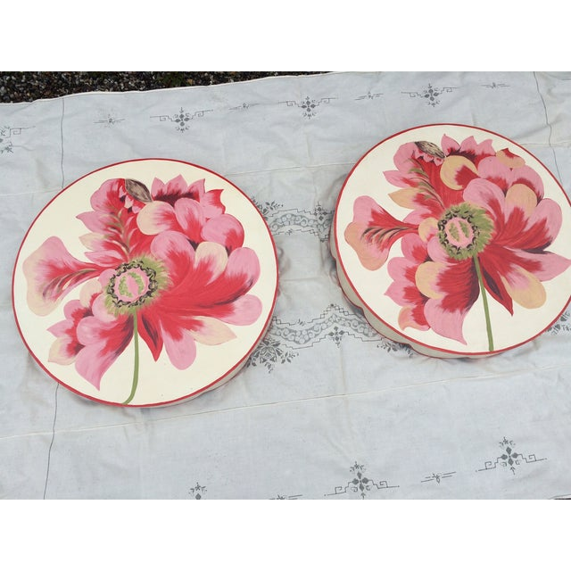 Metal Floral Painted Side Table Cover - Image 2 of 10