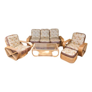 Paul Frankl Pretzel Rattan Living Room Set