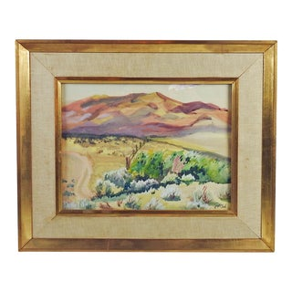 Mountain Ranch Landscape Watercolor Painting