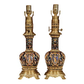 French Hand-Painted Porcelain & Bronze Oil Lamps - A Pair