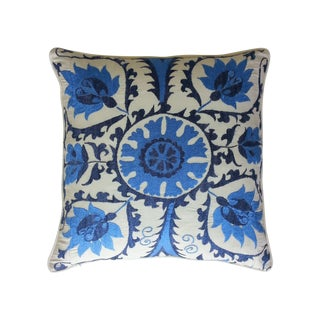 Blue and Cream Suzani Pillow
