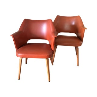 Thonet Mid-Century Burnt Orange Chairs - A Pair