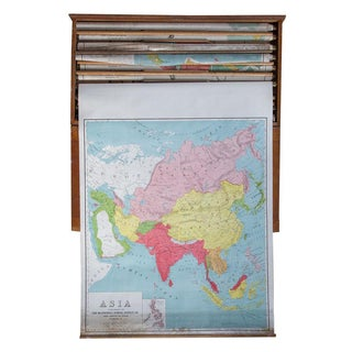 Vintage Pull Down Map of Asia
