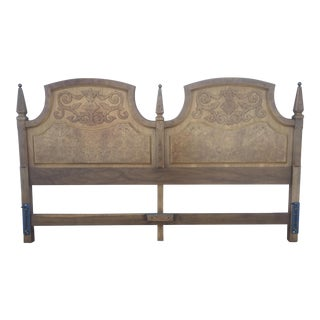 American Of Martinsville Mid Century Burl Wood King Size Headboard