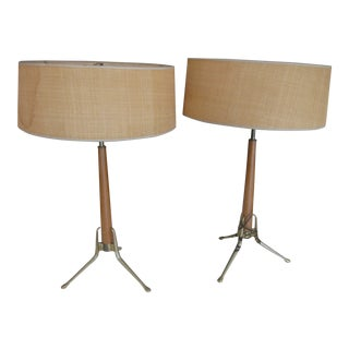 Mid-Century Modern Gerald Thurston Tripod Brass & Walnut Table Lamps - A Pair