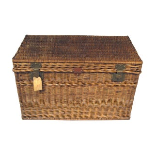 Large Antique French Wicker Trunk