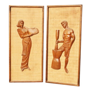 Danish Modern Sculptural Wood Framed Wall Art - A Pair