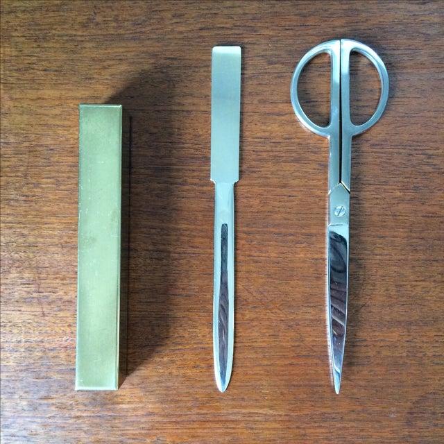 Vintage Brass Scissors and Letter Opener Set - Image 3 of 9