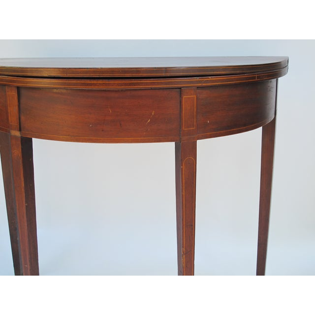 Sheraton-Style Demilune Rosewood Game Table - Image 11 of 11