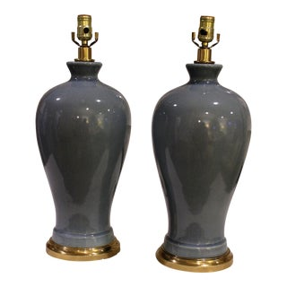 Blue Ceramic Crackle Lamps - A Pair