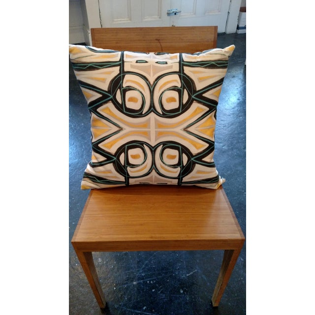 Yellow Abstract Pillow by Amanda Talley - Image 4 of 4